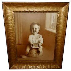 Large Vintage Photo of Child in Wide Frame