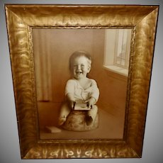 Large Vintage Photo of Child in Wide Frame