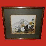 Artist Signed Watercolor of Pansies