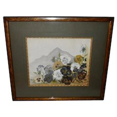 Artist Signed Watercolor of Pansies