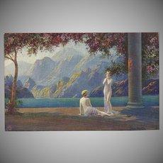 Raphael Tuck Oilette Postcard by Jean LaSalle Two Fantasy Women