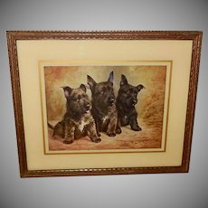 Vintage Print of Scottie Puppy Dogs by Lilian Cheviot