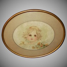 Artist Signed 1899 Watercolor of Young Girl