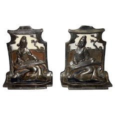 Pompeian Bronze Pair of Polychrome Oriental Madrigale Bookends