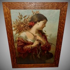 Large Chromolithograph by C. Stahl of Lady with Wheat