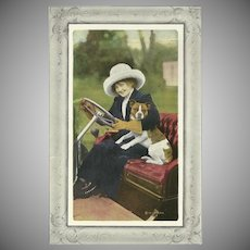Vintage 1911 Postcard of Lady in Car with Dog