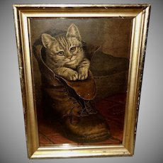 Chromolithograph of Puss in Boots by Frank Paton