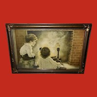 Henry Wireman Vintage Print of Boy Girl and Fireside Fairies