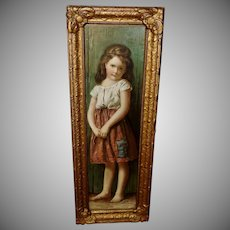 Vintage Print of Young Barefoot Girl in Wood and Gesso Frame