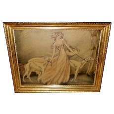 Martine Vintage Textured Print of Lady Strolling with Borzoi Dogs