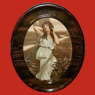 Vintage Print of Lovely Lady in Metal Oval Frame