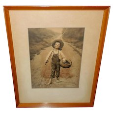 Embossed Campbell Art Print of the Whistling Boy
