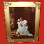 Ullman 1898 Print on Glass of Mother and Daughter
