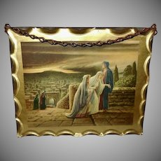Small Chain Hanging Litho of Return from Calvary 1940