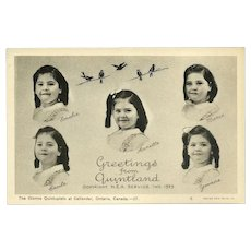 Vintage Canadian Postcard of the Dionne Quintuplets