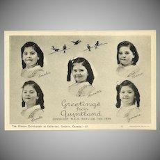 Vintage Canadian Postcard of the Dionne Quintuplets