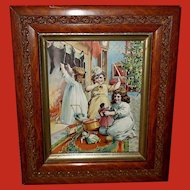 Christmas Chromolithograph of Children Opening Presents