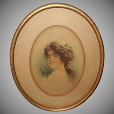 Vintage Print of Lovely Lady in Oval Frame