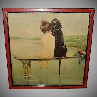Bruno Piglhein Vintage Print of Pals Child and Dog