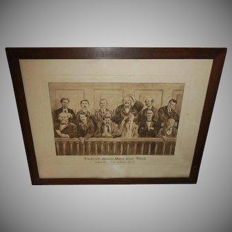 E. W. Gustin 1911 Print of Jury of Twelve Good Men