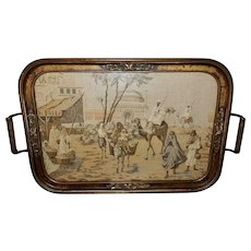 Large Barbola Tray with Tapestry of Arabian Scene