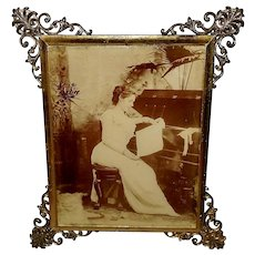 Sepia 1895 Photo Print on Glass of Woman in Ornate Frame