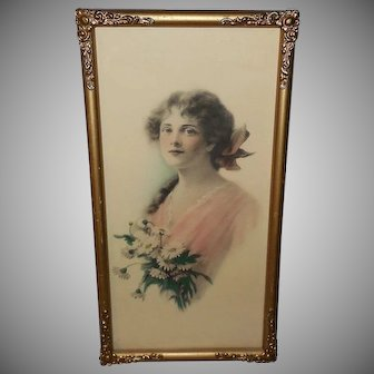 Artist Signed Tinted Print of Lovely Lady with Flowers