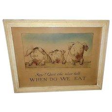 Edward Gross 1915 Vintage World War I Print of Three Pigs