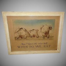Edward Gross 1915 Vintage World War I Print of Three Pigs