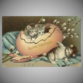 Undivided Easter Postcard of Kittens with Glitter