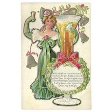Embossed Happy New Year Postcard with Irish American Lass