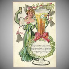 Embossed Happy New Year Postcard with Irish American Lass