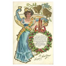 Embossed Happy New Year Postcard with Italian American Girl