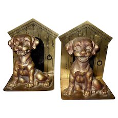 Pair of Bookends with Dog and Dog House
