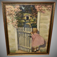 Jessie Willcox Smith Vintage Print of Girl and Garden Gate