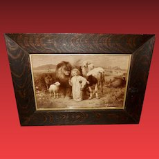 William Strutt Sepia Print of Peace Jesus with Animals