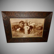 William Strutt Sepia Print of Peace Jesus with Animals