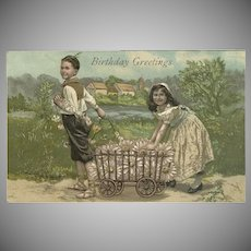 Embossed Vintage Birthday Postcard with Boy and Girl