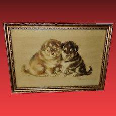 Josephine Crumrine Vintage Print of Two Husky Puppies