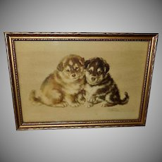 Josephine Crumrine Vintage Print of Two Husky Puppies