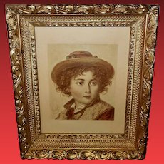 Vintage Artist Signed Tinted Print of Italian Boy - One of Pair