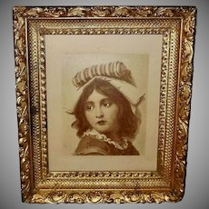 Vintage Artist Signed Tinted Print of Italian Girl - One of Pair