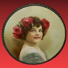 Chromolithograph Flue Cover of Girl with Red Roses