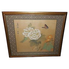Chinese Oriental Woodblock Print on Fabric of Butterfly and Flower