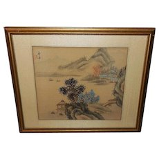 Chinese Oriental Woodblock Print on Fabric of Scene Near Water