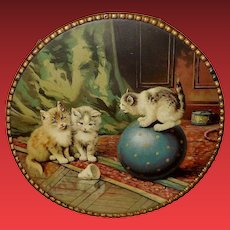 Large Chromolithograph Flue Cover of Three Cats or Kittens