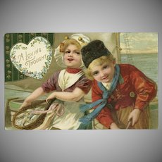 John Winsch Vintage German Postcard of Dutch Boy and Girl