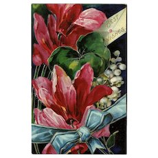German Chromolithograph Embossed Flower Postcard Best Wishes