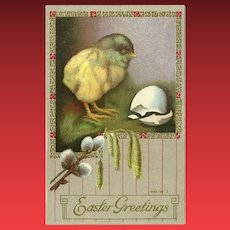 Vintage 1910 Embossed Easter Greetings Postcard with Newly Hatched Chick