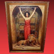 Joseph Warren Vintage Print of Lady and Lion